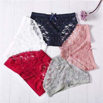 Sexy Bow Floral Lace Briefs For Women Panties Girls Underwear Large Size XL Low Rise Pants Female Lingerie 1