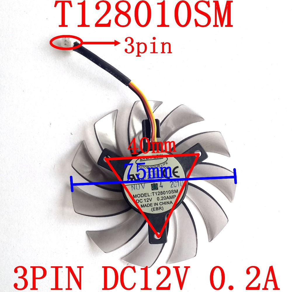 Անվճար առաքում EVERFLOW T128010SM 3pin 75mm 12v 0.2A 40x40x40mm for Gigabyte GTX460 GTX470 GTX580 GTX 670 HD5870