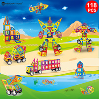 116PCS Standard Size Magnetic Blocks 3D Model Building Bricks Children Educational Toys Engineering Vehicle FORMERS NO