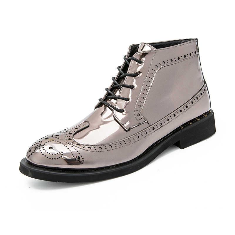 Мужские модельные ботинки; деловые мужские ботинки; сезон осень-зима; кожаная мужская обувь; удобные ботильоны для свадебной вечеринки; повседневная обувь золотистого цвета
