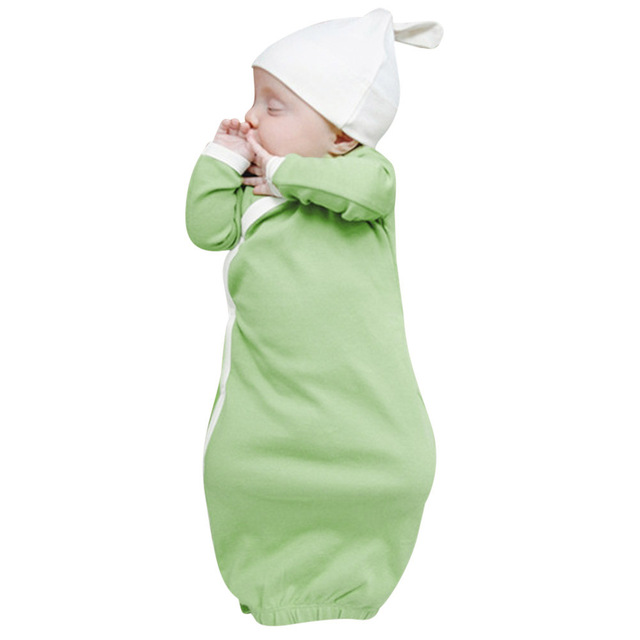 Newborn Baby Sleep Gowns Solid Color Long Sleeve Toddler Sleeper ...