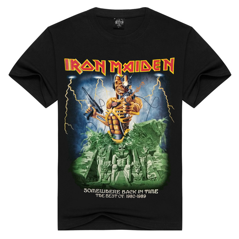 Mens T Shirts Fashion Summer Iron Maiden Skull Print Heavy Metal Rock Hip Hop Punk Swag Hipster Tee Shirts Anime LL031