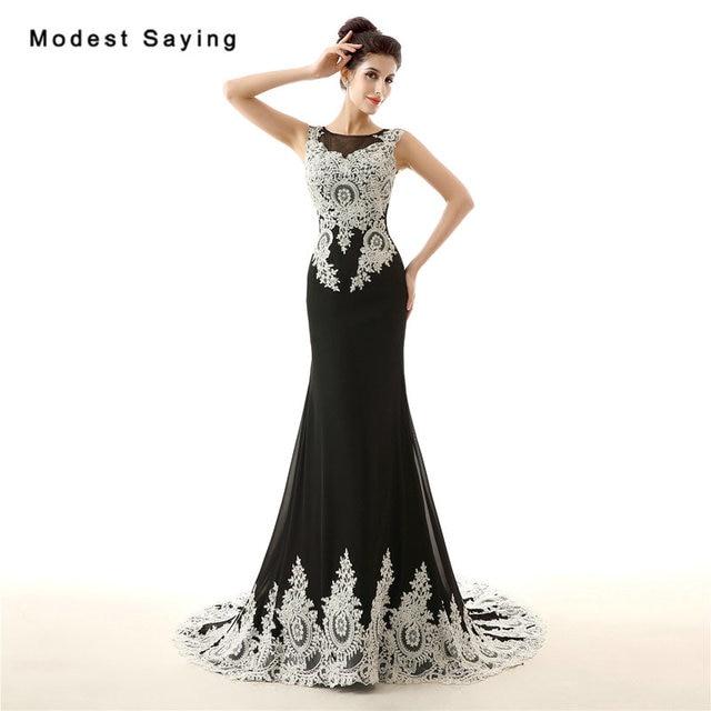 ad53933588b Elegant Black and Ivory Mermaid O Neck Lace Evening Dresses 2017 Formal  Women Engagement Party Prom Gowns vestido longo de festa