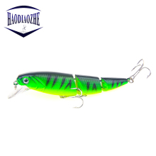 Купить с кэшбэком Jointed Fishing Lures Minnow 3 Section 11cm 14.5g Hard Bait Artificial Topwater Wobblers Fish Pesca CrankBaits Fishing Tackle