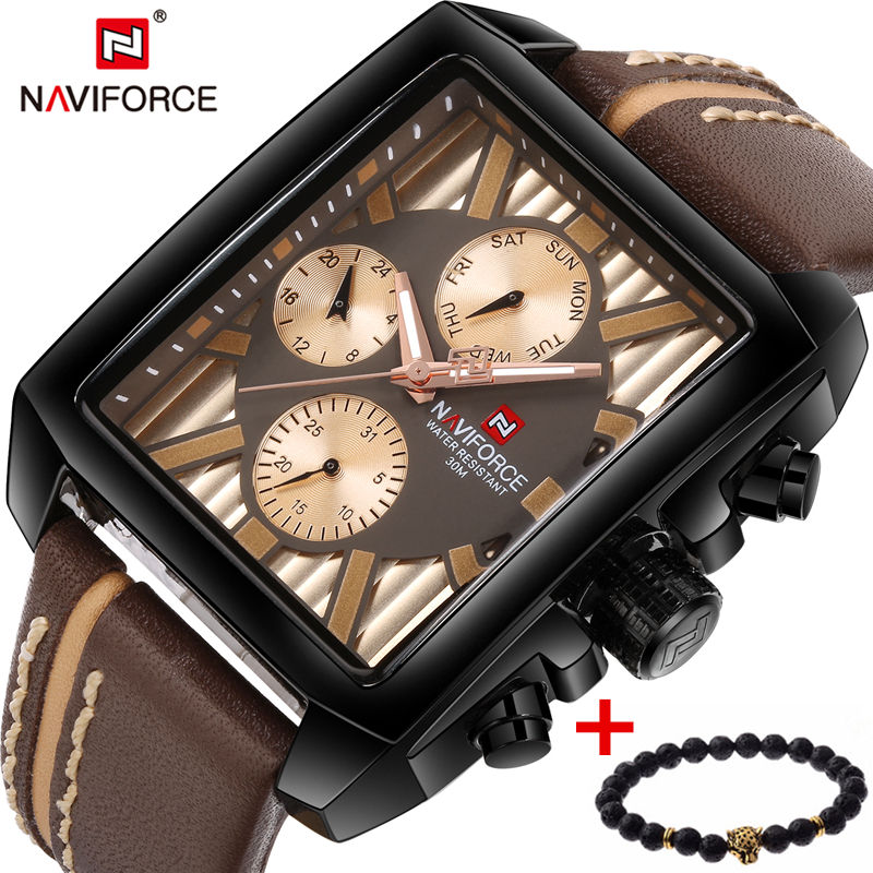 NAVIFORCE Top Luxury Brand Mens Watch Sport Quartz Wristwatch Leather Strap Fashion Male Chronograph Clock Man Relogio Masculino mens watch top luxury brand fashion hollow clock male casual sport wristwatch men pirate skull style quartz watch reloj homber