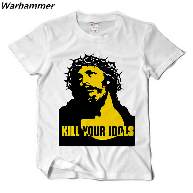 Warhammer Kill Your Idols Men T shirt Rock Roll Style Casual Fit Tee Shirt Guns N Roses Fans Cotton XXL Camisetas Rock G T shirt