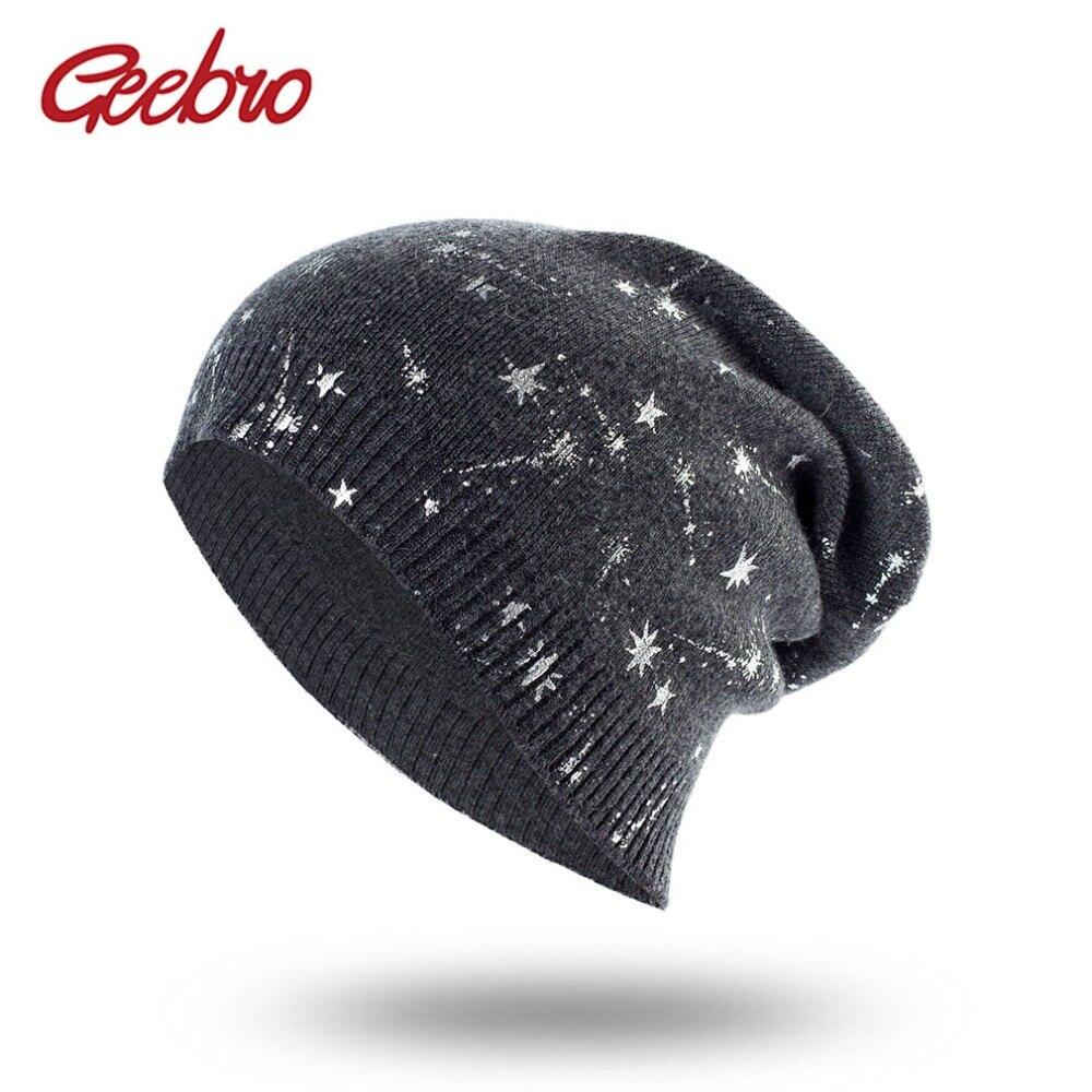 Geebro Women's   Beanies   Hat Spring Wool Stars Bonnets Cap Ladies Solid Comfortable   Skullies     Beanie   Women Fashion Spring Hat