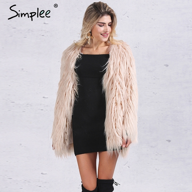 Simplee Elegant faux pelzmantel frauen Fluffy warm langarm weibliche oberbekleidung Schwarz chic herbst wintermantel jacke haarigen mantel