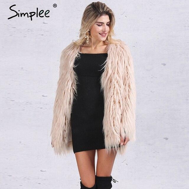 Simplee Elegante casaco de pele falso mulheres Fluffy quente manga longa outerwear feminino chique Preto outono inverno casaco jaqueta casaco peludo