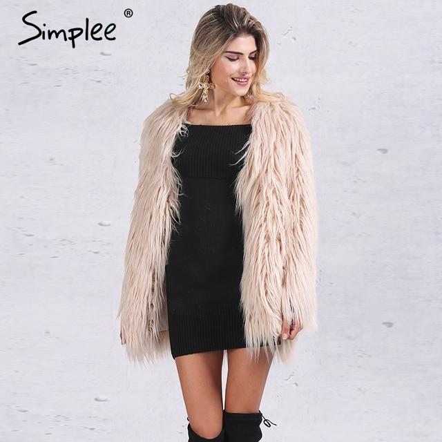 Simplee Elegante faux fur coat mujeres Fluffy caliente de manga larga femenina prendas de vestir exteriores Negro chic otoño invierno chaqueta de abrigo peludo