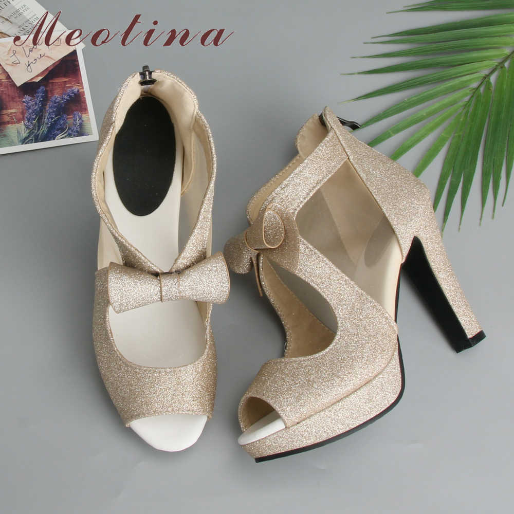 Meotina 여성 신발 하이힐 플랫폼 신발 활 들여다 발가락 펌프 슈퍼 하이힐 파티 신발 실버 크기 33-43 sapatos femininos