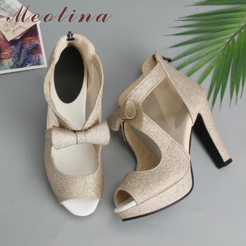 Meotina Women Shoes High Heels Platform Shoes Bow Peep Toe Pumps Super High Heel Party Shoes Silver Size 33-43 sapatos femininos