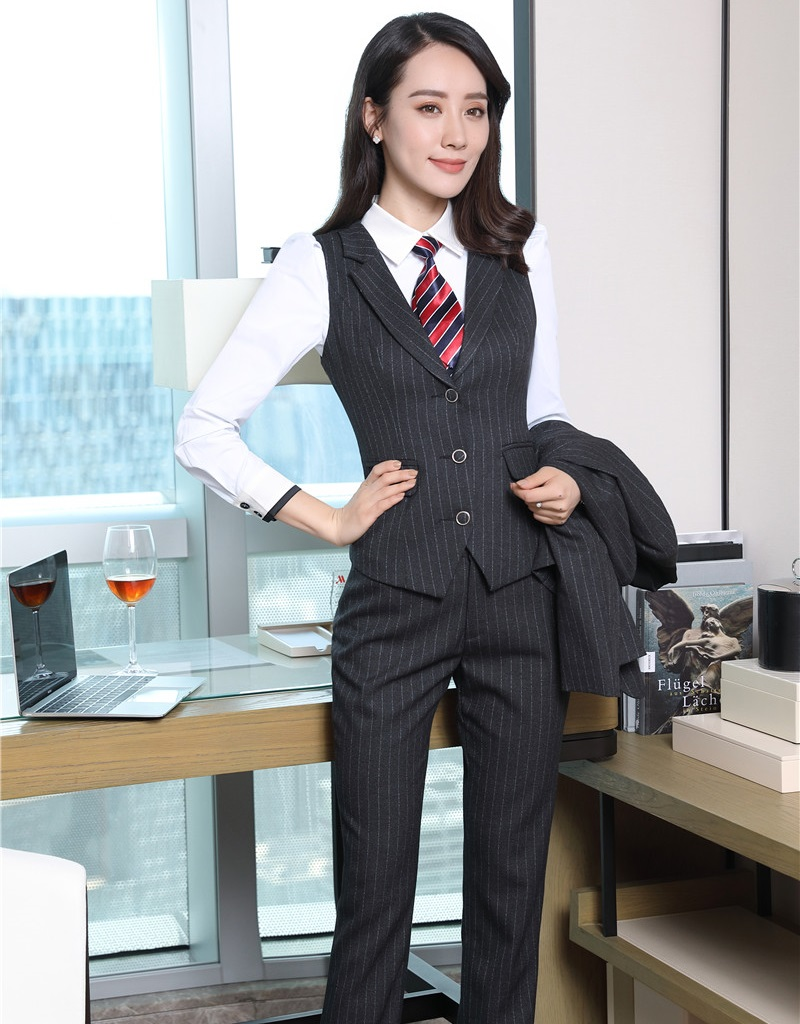 Formal Women Business Suits with Pant and Top Vest Waistcoat Sets Elegant Ladies Office Uniform Styles