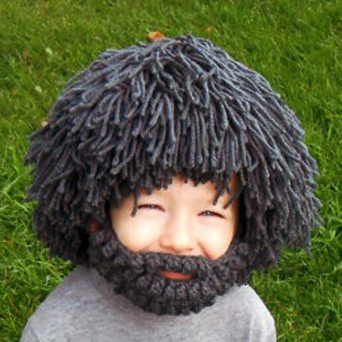 Funny Woolen Yarn Imitated Wig Knitted Beard Face Hat For Men And Women Cool Warm Solid Knit Striped Mask Cap For Children woolen yarn imitated wig knitted beard face hat for men and women