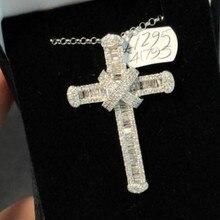 Luksusowy długi krzyż naszyjnik 925 srebro AAAAA cyrkon Cz wesele krzyż wisiorek dla kobiet mężczyzn biżuteria Hiphop