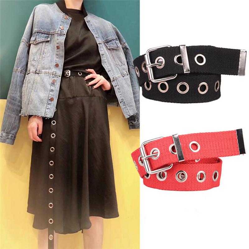 Personality Design Casual Metal Long Belt Female Students Jean Canvas Waist Belts Tide Silver Pin Buckle Men Lady