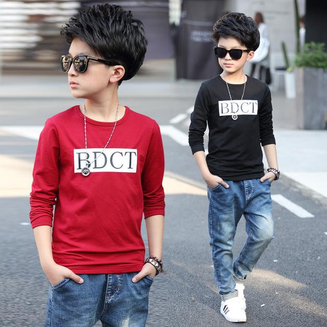 Adolescentes grandes bebé de manga larga camiseta de los muchachos 2017 nuevos niños ropa de los muchachos de los niños tops ropa primavera otoño camisetas para los muchachos