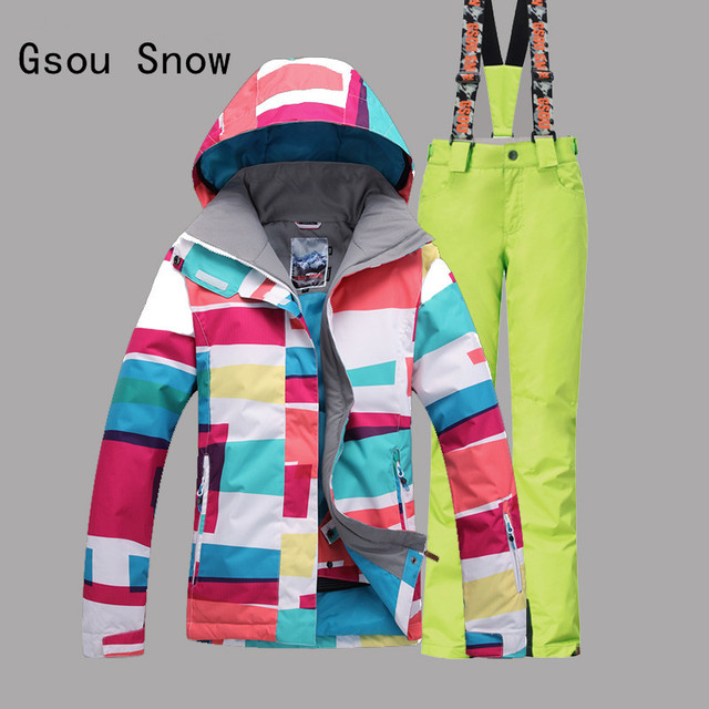 Gsou Snow Women Ski Jacket+Pants Super Warm Winter Coat Snowboard Skiing Suit Clothing Trouser Outdoor Sport Wear Thicken Suit