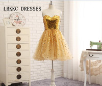 Sweetheart Golden Cocktai Dresses Knee Length Tulle With Sequin A Line Short Prom Party Gown Robe Cocktail