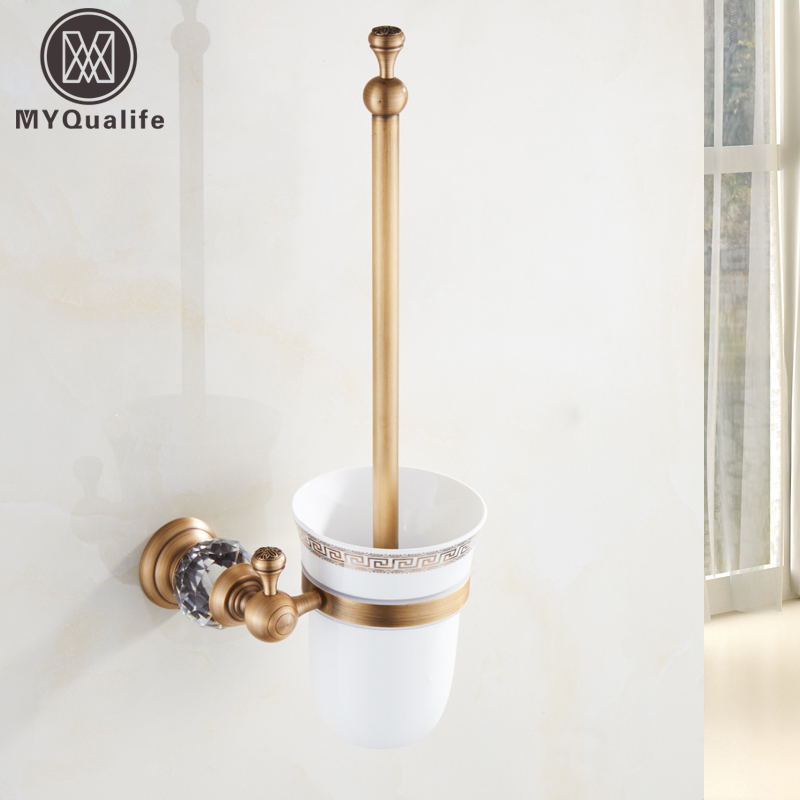 Free Shipping European Brass Crystal Toilet Brush Holder Antique Toilet Brush Bathroom Products Bathroom Accessories free shipping ba9105 bathroom accessories brass black bronze toilet paper holder