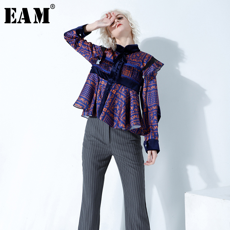 [EAM] 2019 New Spring Autumn Stand Collar Long Sleeve Pattern Printed Pleated Loose Temperament Shirt Women Blouse Fashion JY782
