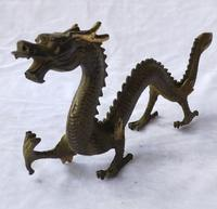 Long 30 CM/12 INCH, Antique Collection old bronze Big Chinese Dragon sculpture home art decoration Metal craft DRAGON statue
