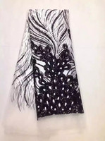 Sale french net lace 5yards,african net lace high quality african tulle lace fabric black Sequins MI 10