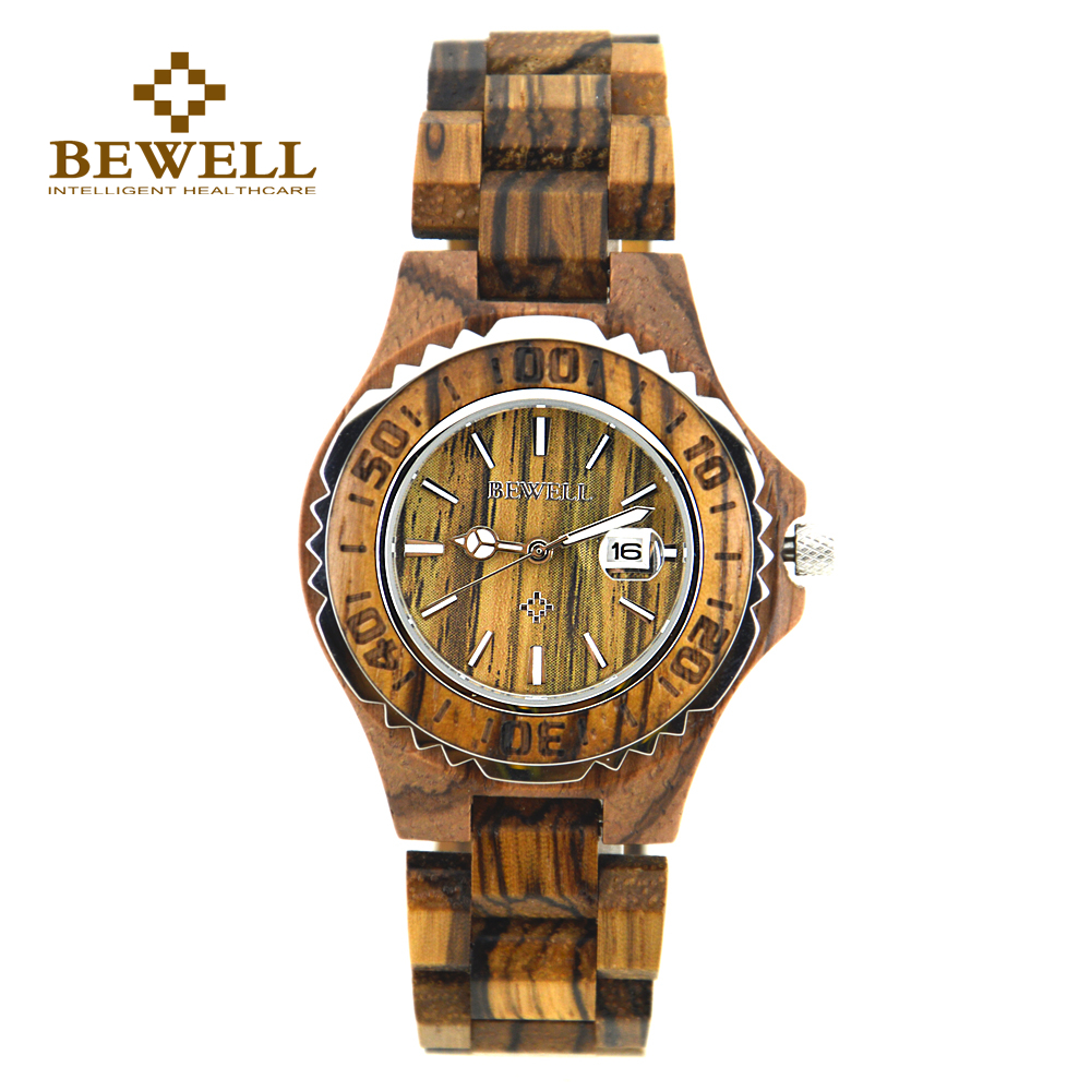 BEWELL Watches Luminous-Pointer Clock Wooden Unique Women's Luxury for Brand Relogios