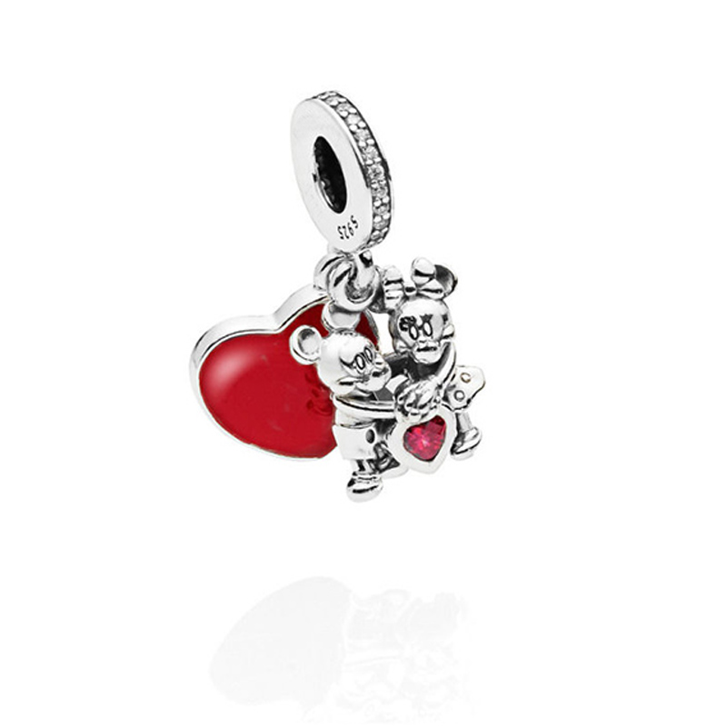 925 Sterling Silver Beads Fit Pandora Charms Silver 925 Original Bracelet Cartoon Mouse With Love Charm Beads For Jewelry Making