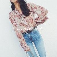 Women Pink beige Unbridled Floral print Silk Blouse Sand Wild Silk Tie Neck Blouse