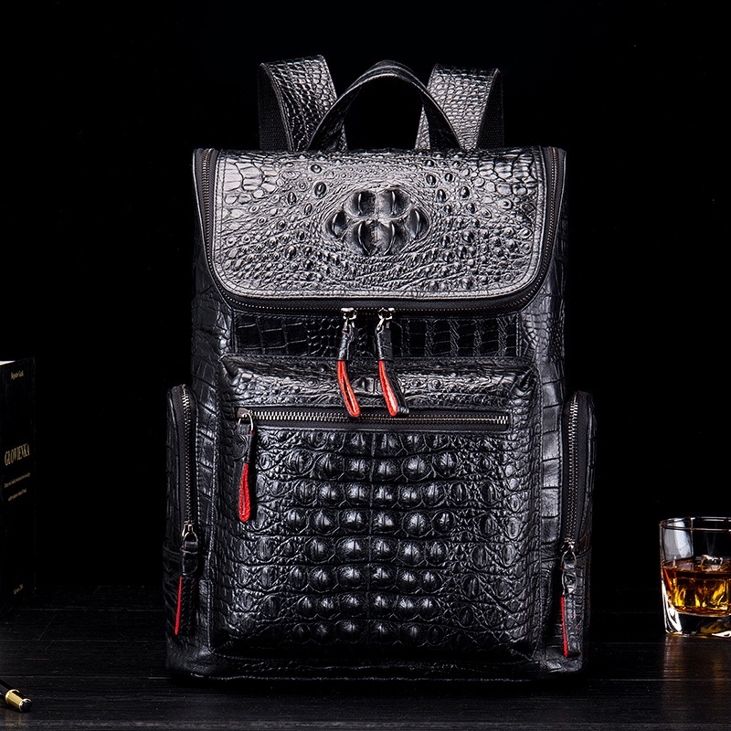 Crocodile Genuine Leather Mens Backpack Male Leather High Quality Student Travel Bag Men Designers Famous Brand High QualityCrocodile Genuine Leather Mens Backpack Male Leather High Quality Student Travel Bag Men Designers Famous Brand High Quality