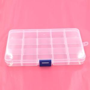 Image 2 - 5 stücke knöpfe ösen lagerung Einstellbare Kunststoff 10/15 Fach Lagerung Box Schmuck Ohrring Bin Fall Container Lagerung Boxen