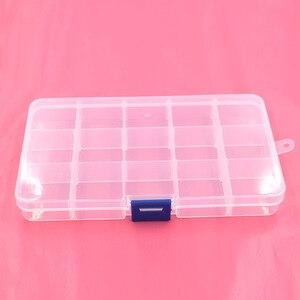 Image 2 - 5pcs 단추 eyelets 저장 조정 가능한 플라스틱 10/15 구획 저장 상자 보석 귀걸이 상자 상자 저장 상자