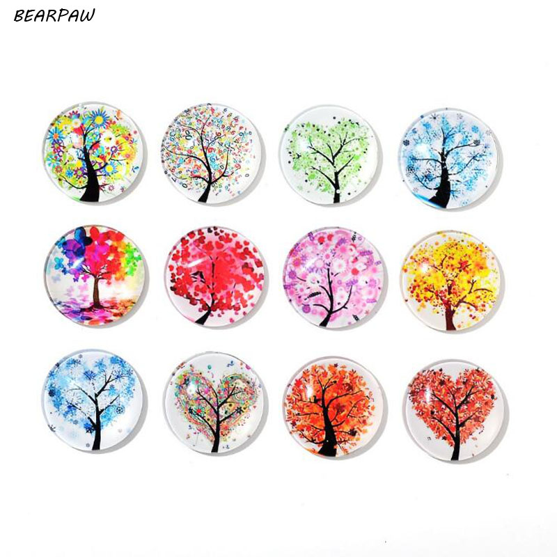 5Pcs/set Cute Round Cartoon Crystal Colorful Life Tree Refrigerator Sticker Fridge Magnet Toy Glass Cabochon Fridge Magnet