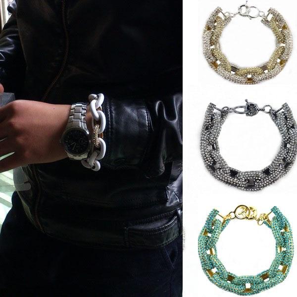 Chunky Bracelets for women Inspired Pave Link Bracelet men jewelry crystal link chain charm bracelets for men