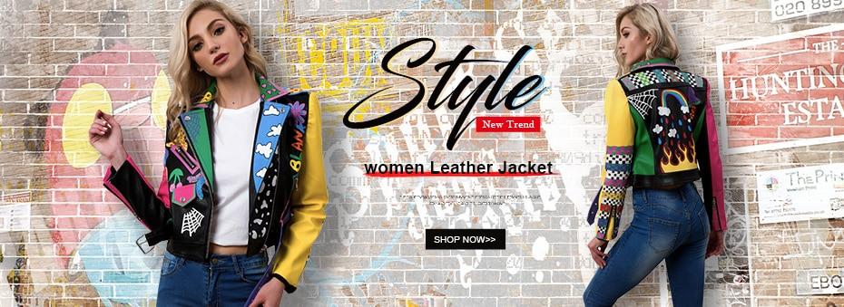 Großhandel LORDXX Bunte Regenbogen Jacke Frauen 2018 New Fashion Print Gelb Sleeve Straße Kurze Lederjacke Reißverschluss Motorrad Mantel Von Vikey10,