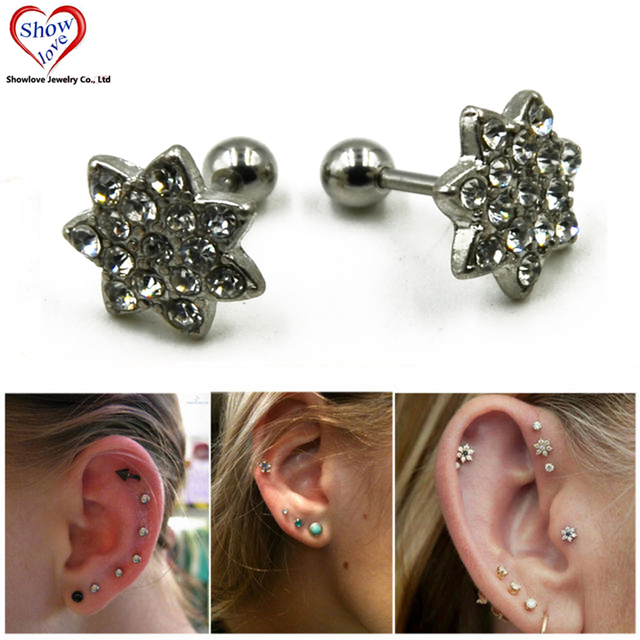 Showlove Pair Surgical Steel Crystal Flower Ear Studs Cartilage Earrings Tragus Helix Piercing 16 Gauges