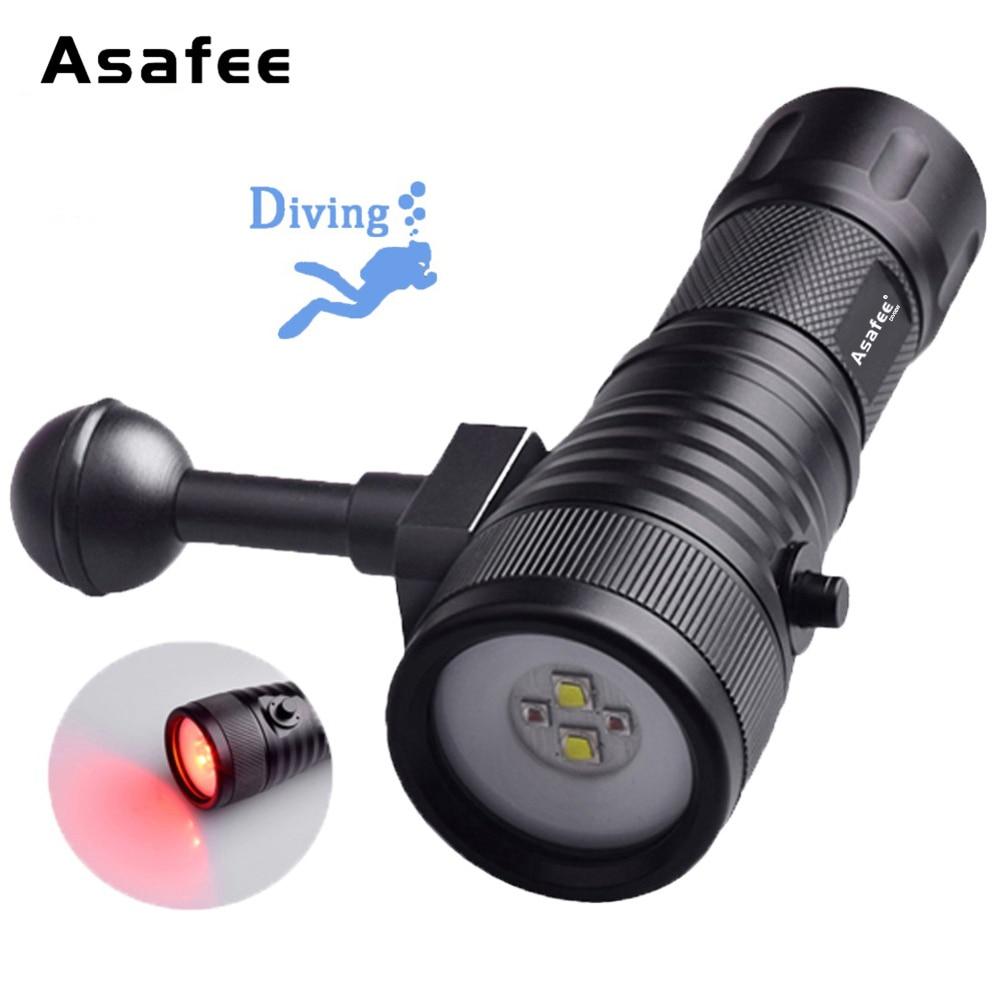 Asafee DIV08W LED-fotografie Duiken zaklamp Wit Rood Kleur LED - Draagbare verlichting
