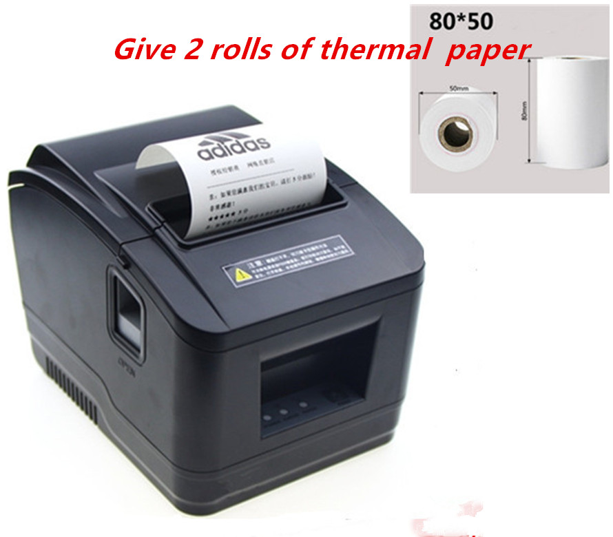 Gift 2 rolls wholesale brand new High quality pos printer 80mm thermal receipt Small ticket barcode printer automatic cutting image