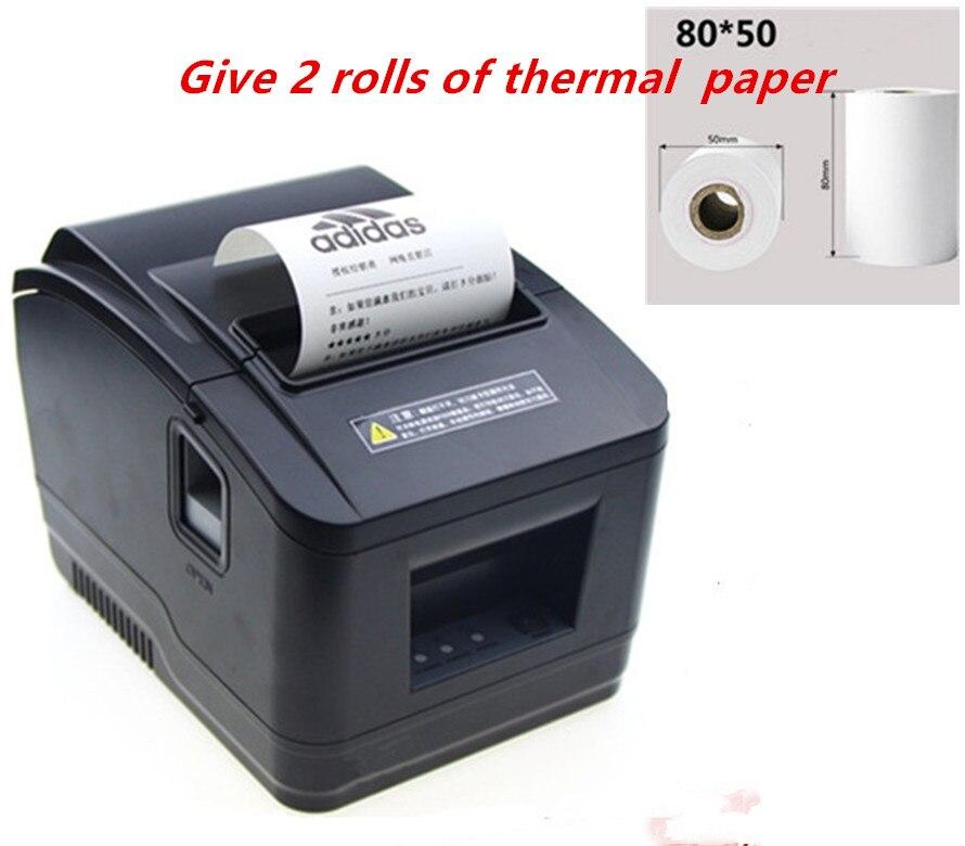 Presente 2 rolos atacado brand new Alta qualidade 80 milímetros de recibos térmica pos impressora Pequeno bilhete impressora de código de barras de corte automático