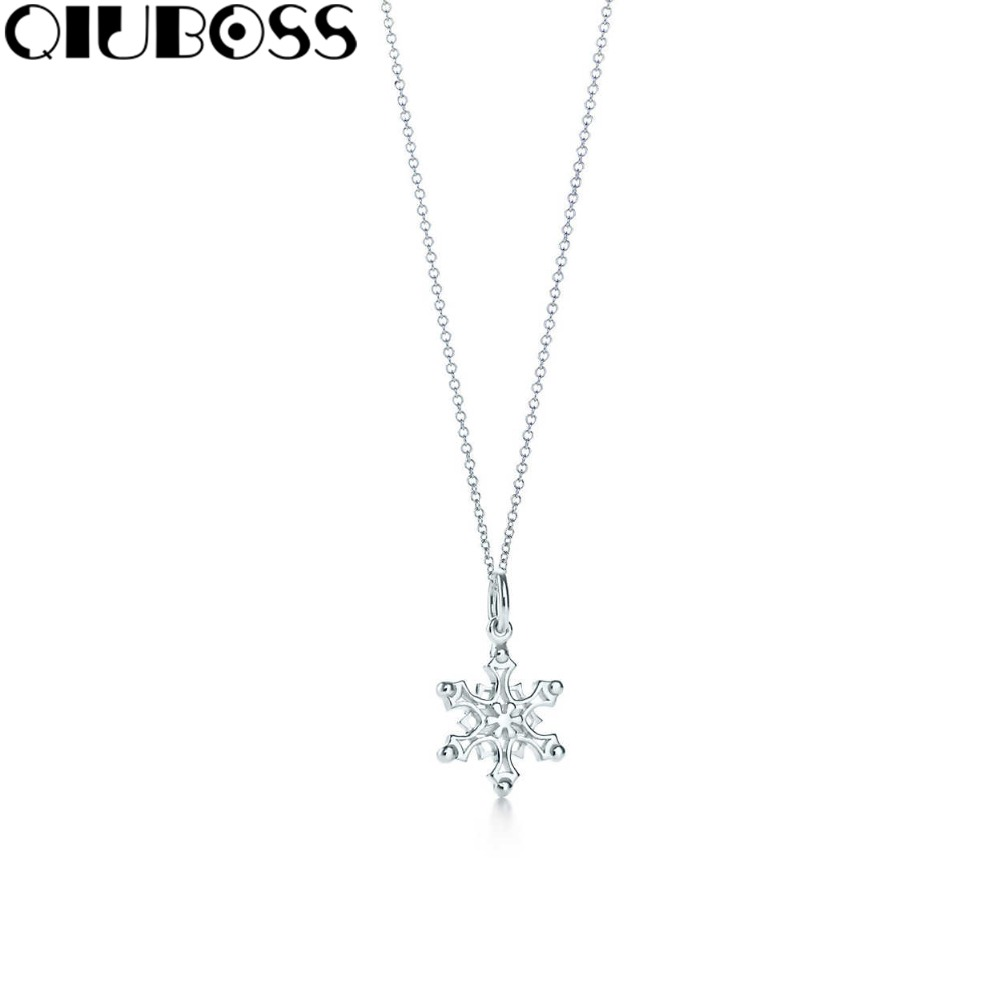 QIUBOSS S925 TiffanySilver Snowflake charm and chain Fashion pendant 925 Sterling Silver Pendant Clavicle Ms. Clavicle Necklace 925 sterling silver diamond dream catcher necklace fashion simple clavicle chain c03