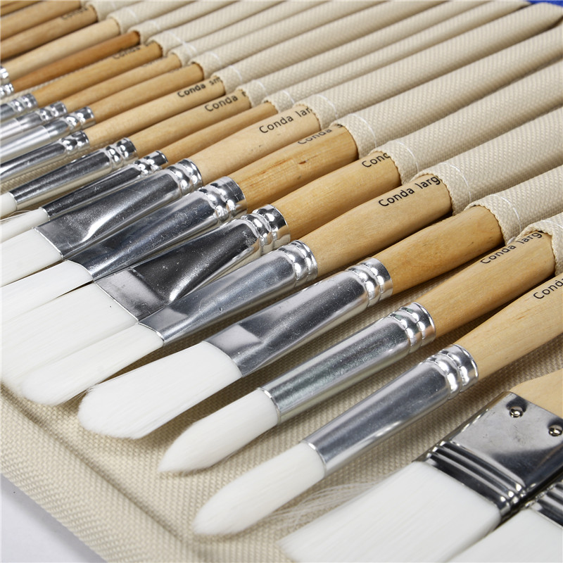 Conda 24 Pcs Chip Paint Brushes Set Professional Brush with Case for Acrylic Oil