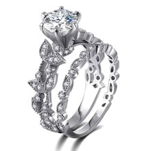 2018 New Style Leaf Pattern Moissanites Engagement Ring White Gold Color Forever Lab Grown Ring Wedding Bridal(China)