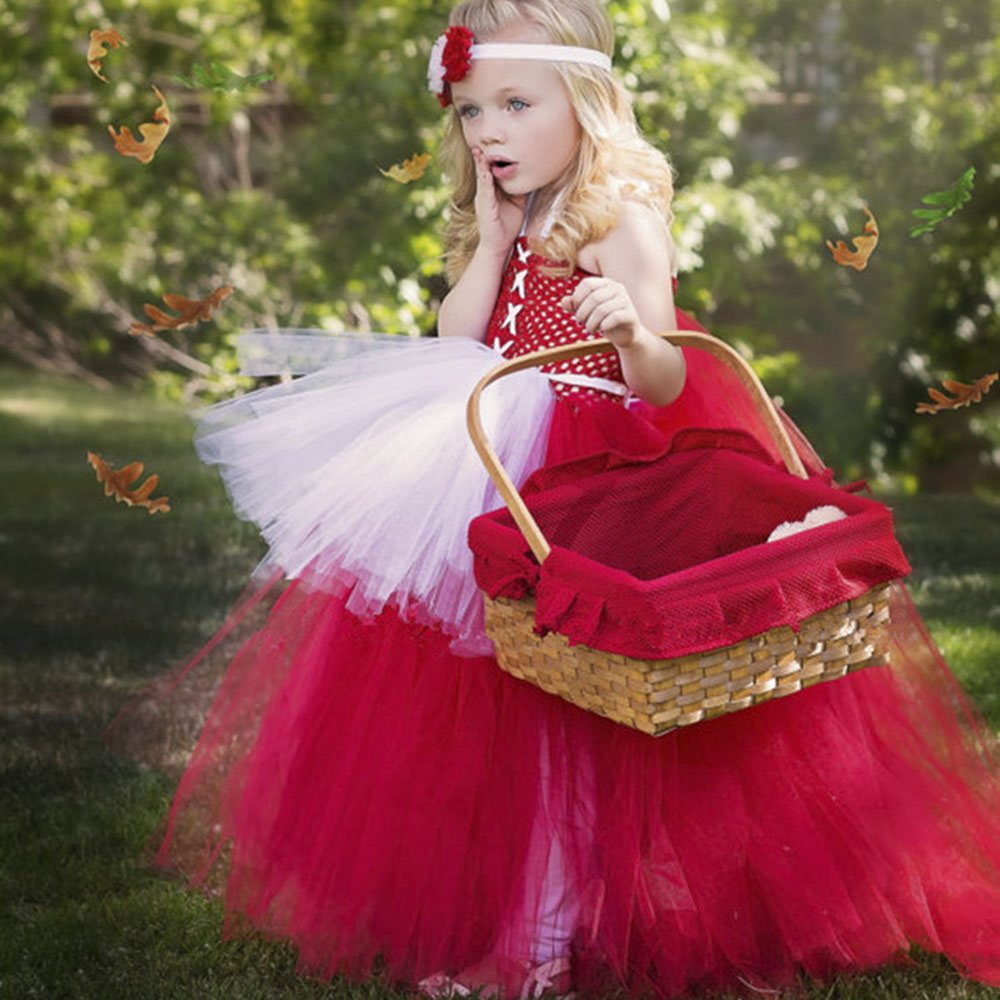 Lovely Red White Little Red Riding Hood Cosplay Party Tutu Dress For Girls Children Birthday Custom Kids Dress UP With Headbands cosplay red