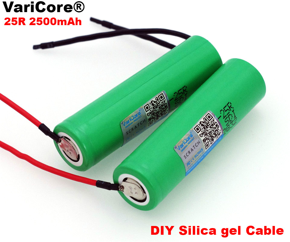 Varicore original <font><b>18650</b></font> 2500mAh Battery INR1865025R 3.6 V Discharge 20A Dedicated Battery Power for <font><b>Samsung</b></font>+ DIY Silicone Line image