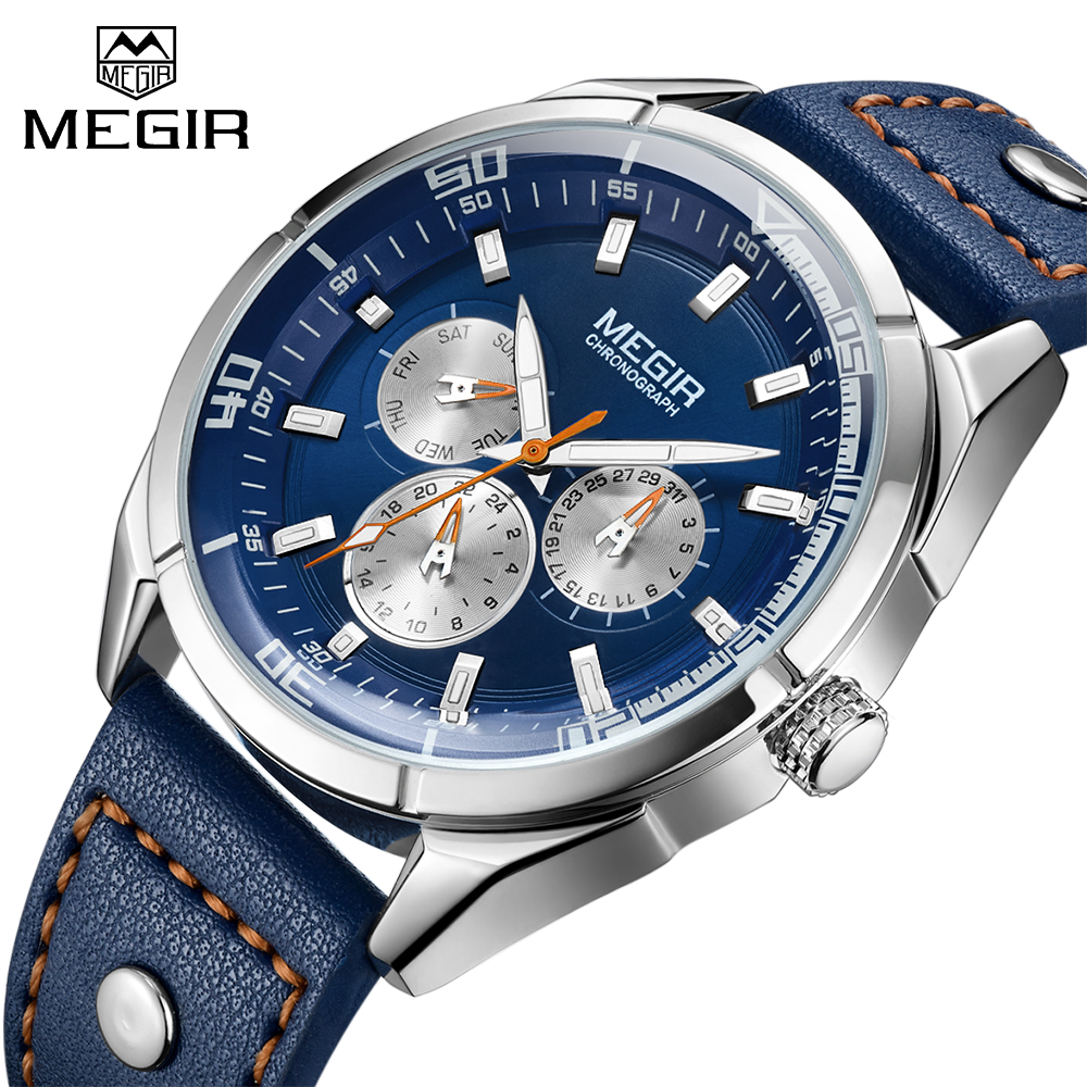 MEGIR Top Luxury Brand Army Military Quartz Watches Men Army Quartz Sport Wrist Watch Clock Male Analog Relogio Masculino