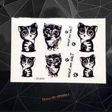 Love Black Cat Temporary Tattoo Stickers Cheese Cat Waterproof Tattoo Children Xmas Gifts Chi's Sweet Home Cat Tatoo AQSB020