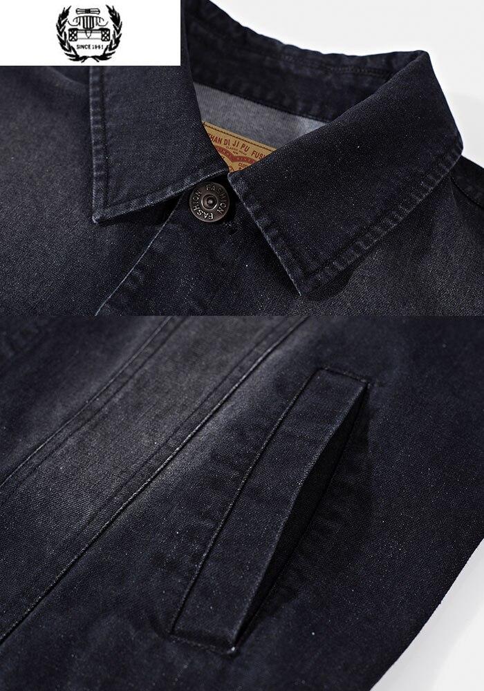 Décontracté Mode Denim Lavé Black Offres Vêtements Asia Régulier Pour Rétro Hommes Sortie Nouveau Hiver Solide Spéciales Size Stand Chaude Vestes Automne 4ARL5j