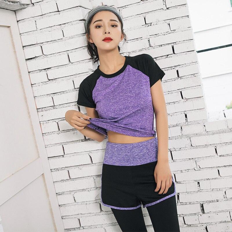Women Yoga Set Gym Fitness Clothes Tennis Shirt+Pants Running Tight Jogging Workout Yoga Legging Sport Suit Plus Size Sport Wear