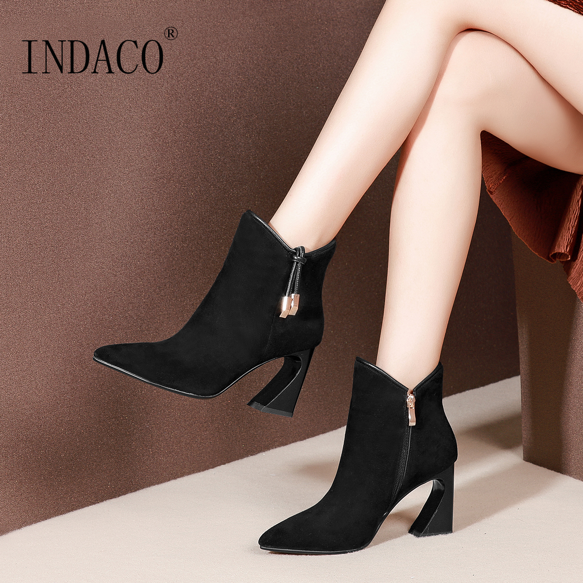 2018 Autumn Winter Suede Leather Boots Women Pointed Toe Women Winter Shoes Botte Hiver Femme 8cm